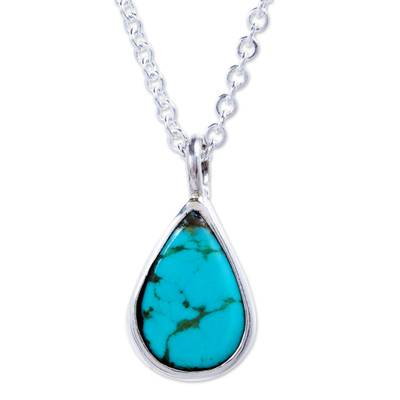 Taxco Sterling Silver Natural Turquoise Teardrop Necklace