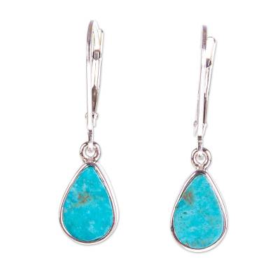 Taxco Sterling Silver Natural Turquoise Teardrop Earrings