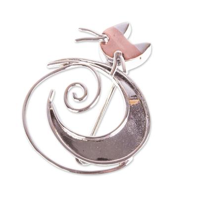 Handmade Taxco Sterling Silver Moon-Cat Brooch Pin