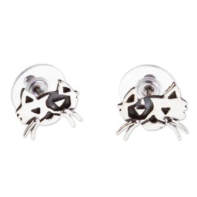 Cat Motif Sterling Silver Stud Earrings