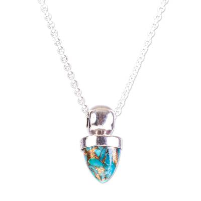 Taxco Silver Pendant Necklace with Composite Turquoise