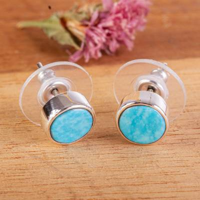 Turquoise stud earrings, 'Sea Meets Sky' - Taxco Sterling Silver and Natural Turquoise Stud Earrings