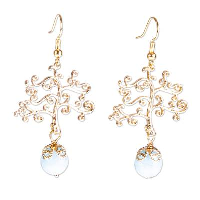 14k Gold-Plated Agate Dangle Earrings from Mexico