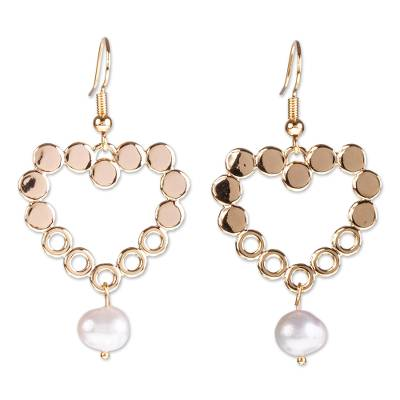 14k Gold-plated Cultured Pearl Earrings From Mexico