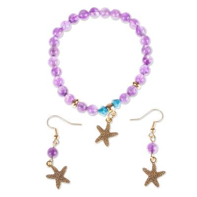 Gold-plated Starfish Bracelet and Earrings Set from Mexico