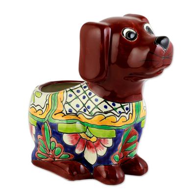 Talavera Style Dog-Themed Ceramic Planter from Mexico