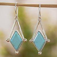 Turquoise dangle earrings, 'Spark of Blue' - Turquoise and Taxco 950 Silver Artisan Crafted Earrings