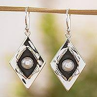 Cultured pearl dangle earrings, 'Venus' - Cultured Pearl and Taxco Silver Dangle Earrings from Mexico