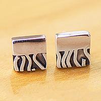 Silver stud earrings, 'Zebra Mystique' - Handcrafted Taxco Silver Contemporary Zebra Stud Earrings