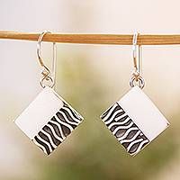 Silver dangle earrings, 'Zebra Mystique' - Handcrafted Taxco Silver Contemporary Zebra Earrings