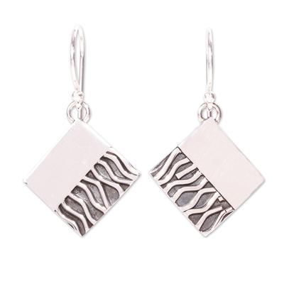 Silver dangle earrings, 'Zebra Mystique' - Handcrafted Taxco Silver Contemporary Zebra Earrings