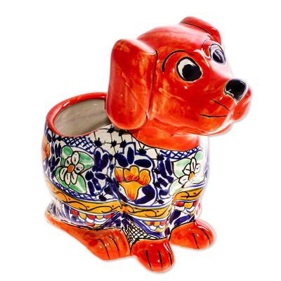 Talavera Style Ceramic Dog Planter from Mexico