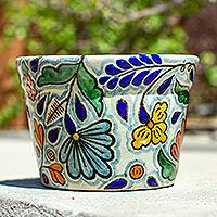 Ceramic flower pot, 'Holiday Garden' - 6-Inch Green & Multicolor Talavera Style Ceramic Flower Pot