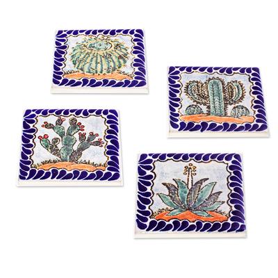 Square Ceramic Coasters with Cacti (Set of 4)