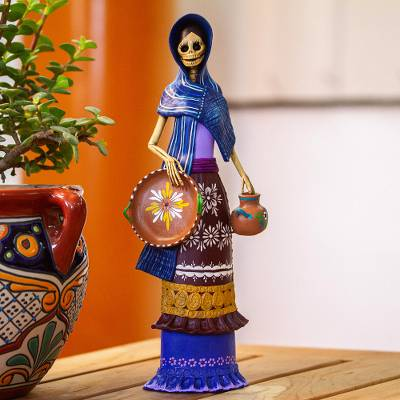 Ceramic sculpture, 'Catrina Tomasa' - Ceramic Catrina Sculpture with Blue Mantle from Mexico