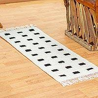 Zapotec wool runner, 'Spatial Sequence' (1.5x3.5) - Black & White Handwoven Modern Zapotec Wool Runner 1.5x3.5