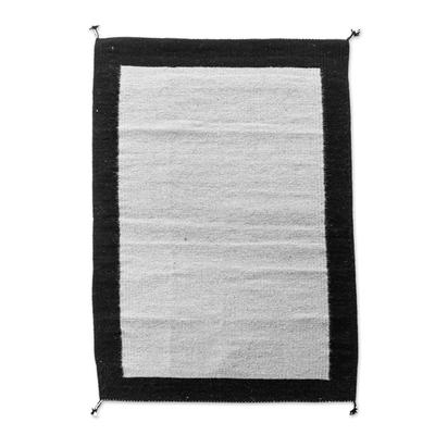 Black & Grey Handwoven Modern Zapotec Wool Rug 2x3.5