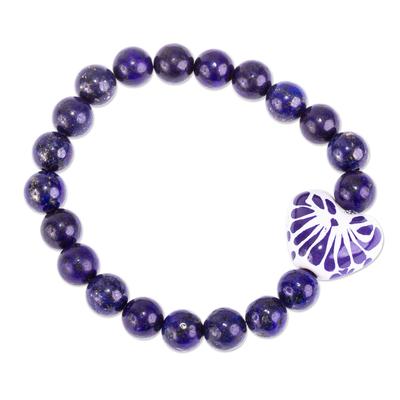 Lapis Lazuli and Talavera Style Ceramic Heart Bracelet