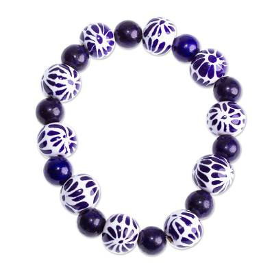 Lapis Lazuli and Talavera Style Ceramic Floral Bracelet