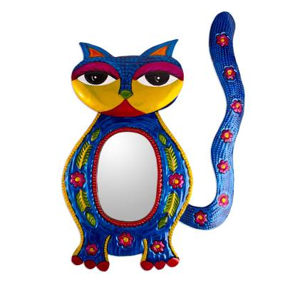 Embossed Tin Cat-themed Wall Mirror from Mexico