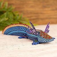 Wood alebrije sculpture, 'Blue Axolotl' - Handmade Copal Wood Axolotl Alebrije Sculpture from Mexico