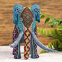 Copal wood alebrije, 'Magic Elephant' - Copal Wood Elephant Alebrije from Mexico