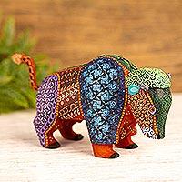 Wood alebrije sculpture, 'Buffalo Dream' - Handmade Copal Wood Alebrije Buffalo Sculpture from Mexico