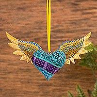 Wood alebrije ornament, 'Winged Turquoise Heart'