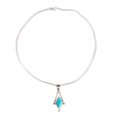Turquoise pendant necklace, 'Spark of Blue' - Turquoise and Taxco 950 Silver Artisan Crafted Necklace