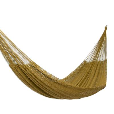 Hand Crafted Olive Cotton Rope Hammock (Single)