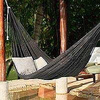 Cotton rope hammock, 'Uxmal Black' (double) - Hand Woven Black Cotton Rope Hammock (Double)