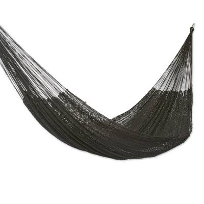 Hand Woven Black Cotton Rope Hammock (Double)