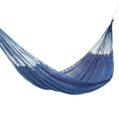 Blue Cotton Rope Hammock (Triple)