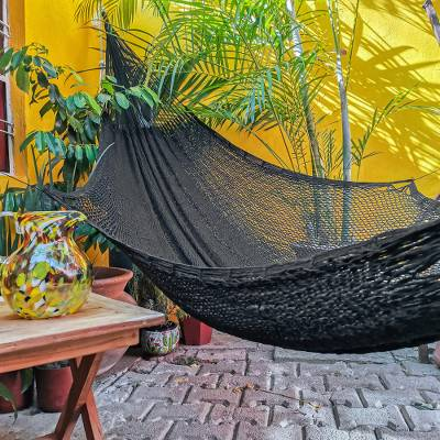 Cotton rope hammock, 'Uxmal Night' (triple) - Handmade Black Rope Hammock (Triple)
