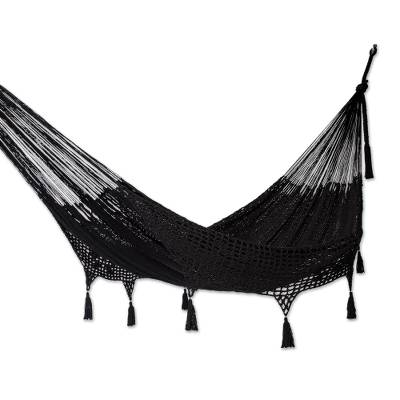 Cotton rope hammock, 'Mirage in Black' (double) - Black Hammock with Macrame Panels (Double)