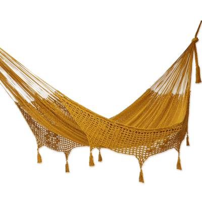 Amber Brown Tasseled Cotton Hammock (Double) from Mexico