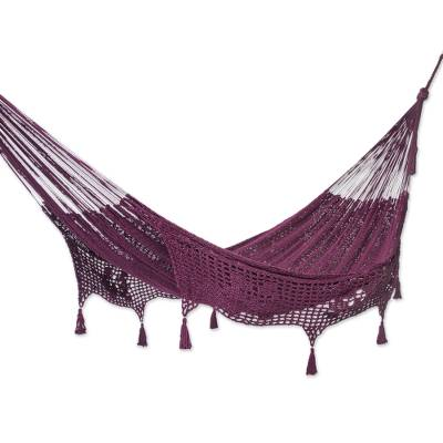 Burgundy Tasseled Cotton Hammock (Double) From Mexico