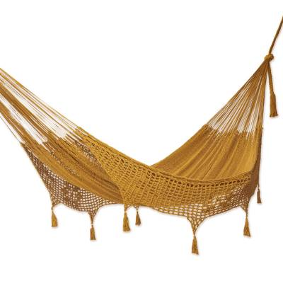 Hand Crafted Amber Cotton Hammock (Triple)