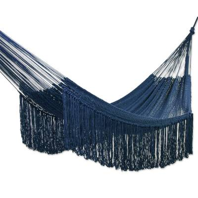 Fringed Navy Cotton Rope Hammock (Double) From Mexico
