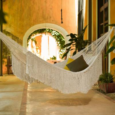 Cotton rope hammock, 'Ivory Cascade' (double) - Cotton Hammock in Ivory (Double)