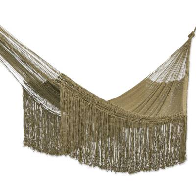 Fringed Olive Green Cotton Rope Double Hammock Mexico