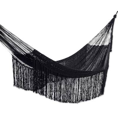 Fringed Black Cotton Rope Hammock (Double) from Mexico