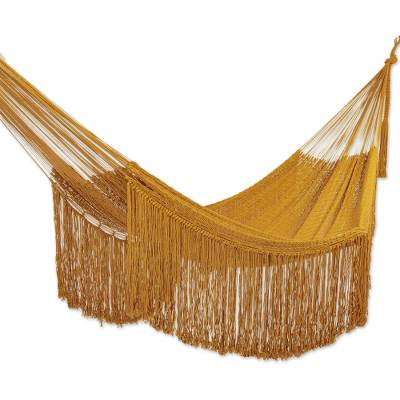 Fringed Amber Yellow Cotton Hammock from Mexico (Double)