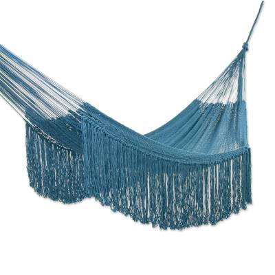 Fringed Teal Hammock from Mexico (Triple)