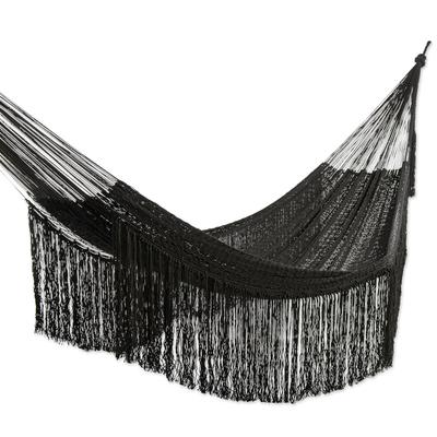 Black Cotton Rope Hammock (Triple)