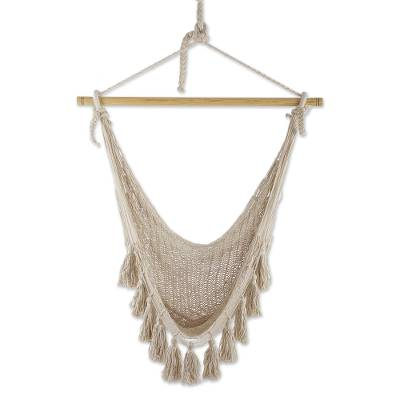 Ivory Tasseled Cotton Rope Mayan Hammock Swing from Mexico