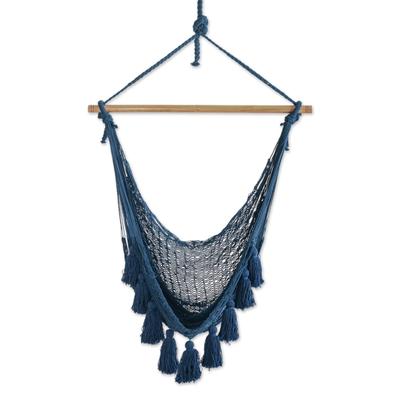 Blue Cotton Mayan Hammock Swing from Mexico (Single)