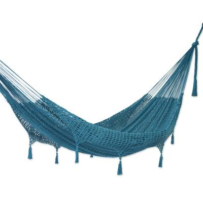 Handwoven Teal Cotton Hammock (Double) from Mexico