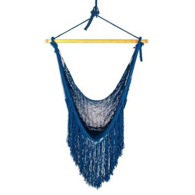 Fringed Navy Cotton Rope Mayan Hammock Swing from Mexico