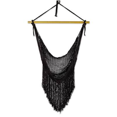 Black Fringed Cotton Rope Mayan Hammock Swing from Mexico